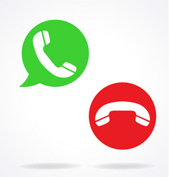 Telephone call pick up hang up icons vector