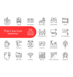 thin line icons set for hotel and home life vector image