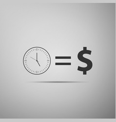 time is money sign icon isolated money is time vector image