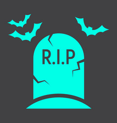 tombstone glyph icon halloween and scary grave vector image