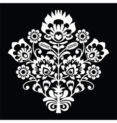 Traditional Polish folk art pattern on black vector