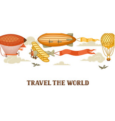 travel banner with retro air transport vintage vector image
