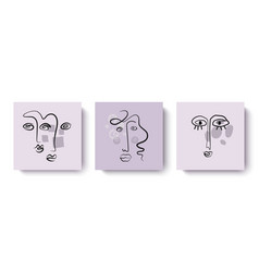 trendy abstract designer greeting cards with faces vector image