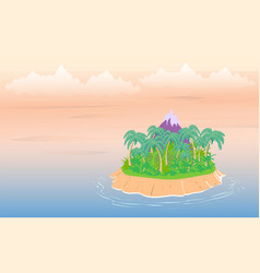 tropical landscape sea island with palm trees and vector image