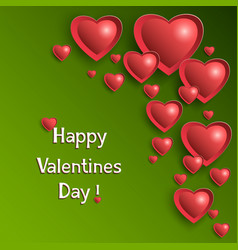 valentine day background with glowing hearts vector image