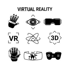 virtual reality icons set vr glasses or goggles vector image
