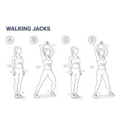 Walking jacks exercise women workout guidance vector