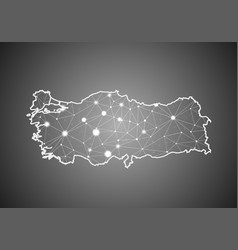 Wireframe mesh polygonal turkey map abstract vector