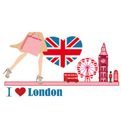 Woman shopping in london card vector