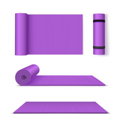 Yoga mat for fitness and exercise set vector