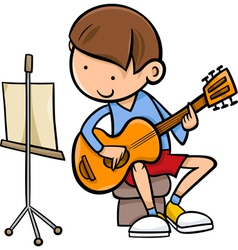boy with guitar cartoon vector image vector image