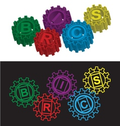 Brics stylized symbol of gears vector