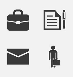 business icons set collection of work man suitcase vector image vector image