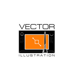 design studio icon of digital drawing pad vector image