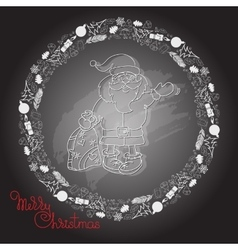 Hand drawn Santa Claus gifts and handwritten vector image