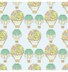 Hand-drawn seamless air balloon pattern vector