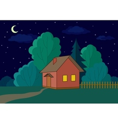 House on forest edge night vector image