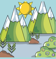 Landscape with mountains and plants and sun to vector