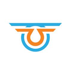 letter u wing company logo vector image vector image