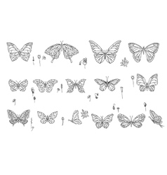 Set with different butterflies Black and white vector image