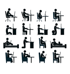 bad and good working position vector image vector image