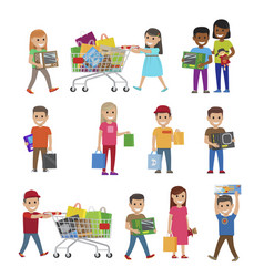 children with purchases set of icons on white vector image vector image
