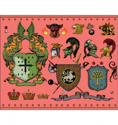 heraldic elements vector image vector image