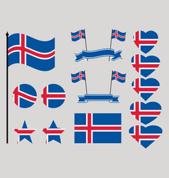 iceland flag set collection of symbols heart vector image vector image