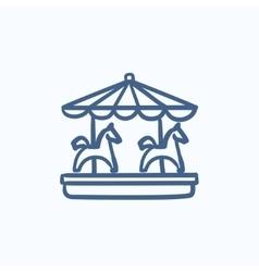 Merry-go-round sketch icon vector image vector image