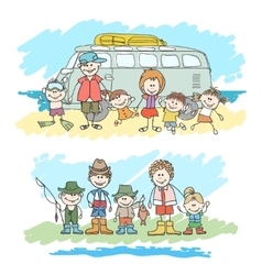 Mom dad and childrens happy family sketch vector image vector image