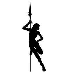 Striptease silhouette of warrior woman vector