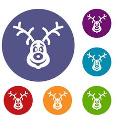 christmas deer icons set vector image vector image