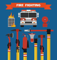 fire fighting design concept flat vector image vector image