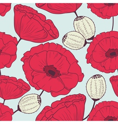 Floral poppyes seamless pattern vector image