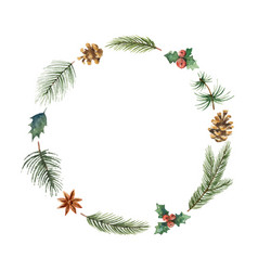 watercolor christmas frame with fir branches and vector image