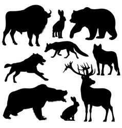 Black outline wild forest animals vector