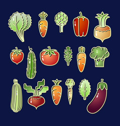 bright cartoon style vegetable eating set vector image