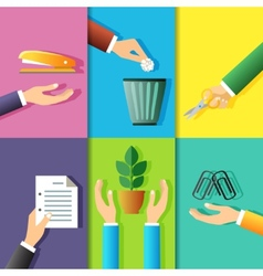 Business hands icons vector image vector image