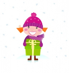 Christmas girl with present vector image vector image