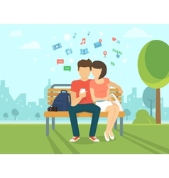 Couple with smartphone outdoors vector image