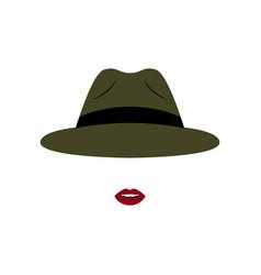 girl in modern dark green hat vector image vector image