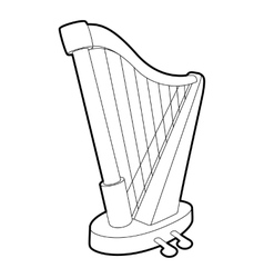 Harp icon outline isometric style vector
