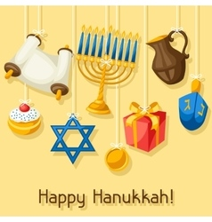 Jewish Hanukkah celebration card with holiday vector image