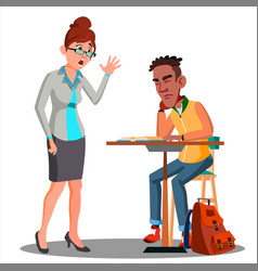 angry teacher and student sleeping at the desk vector image