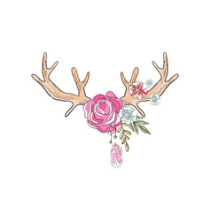 Antlers with flowering plants hand drawn floral vector