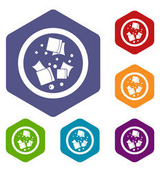 Asian sauce icons set hexagon vector