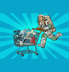 Astronaut on sale of home appliances vector