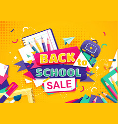 back to school concept with school items vector image