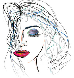 beautful woman sketch with messy hair vector image