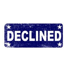 Blue declined ink stamp vector